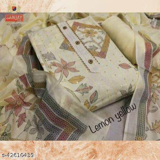 Sanjay Fab, 100% Pure Cotton, Majestic Prints, Full Sequence Embroidery, Cotton Dupatta