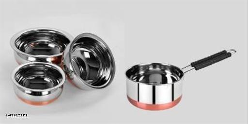 "STAR HUB Handi 3 Pcs. Set 500ml, 750ml, 1250ml, - Sauce Pan 1.5 Liter - ""Stainless Steel-Copper bottom"