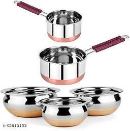 STAR HUB Copper Bottom Handi - 3 Pcs & 2 Pcs Copper Bottom Sauce Pan - All - 5 Liter. Handi 5 L Handi 5 L