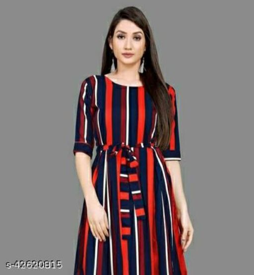 Fab Fort Western Blue Color Redy Made Printed Dress