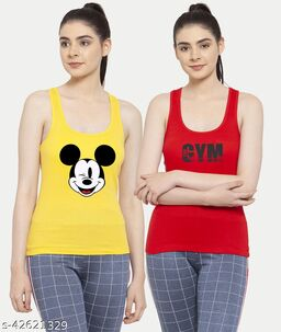 Women Yellow Red Mickey mouse Gym Tank top