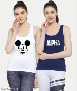 Women White Blue Mickey mouse Alpha Tank top