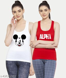 Women White Red Mickey mouse Alpha Tank top Camisoles