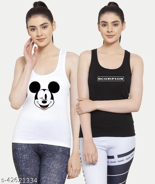 Women White Black Mickey mouse Scorpion Tank top Camisoles