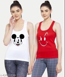Women White Red Mickey mouse Smily White Tank top Camisoles