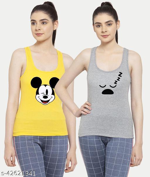Women Yellow Grey Mickey mouse Sleepy Tank top