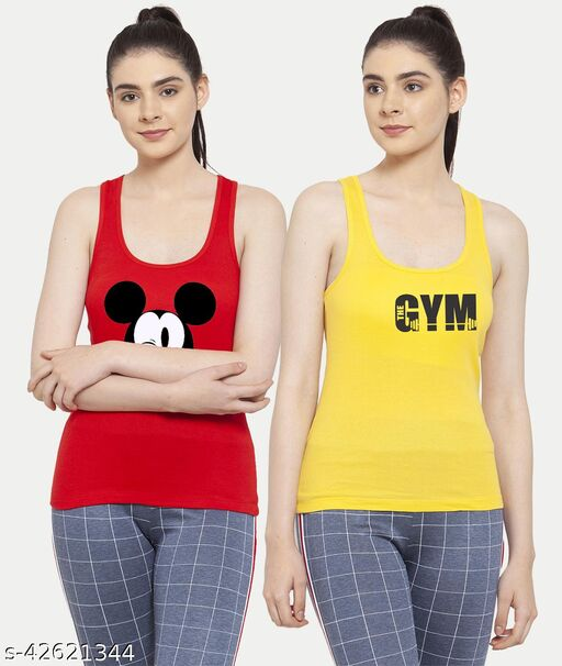 Women Red Yellow Mickey mouse Gym Tank top