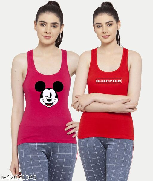 Women Pink Red Mickey mouse Scorpion Tank top