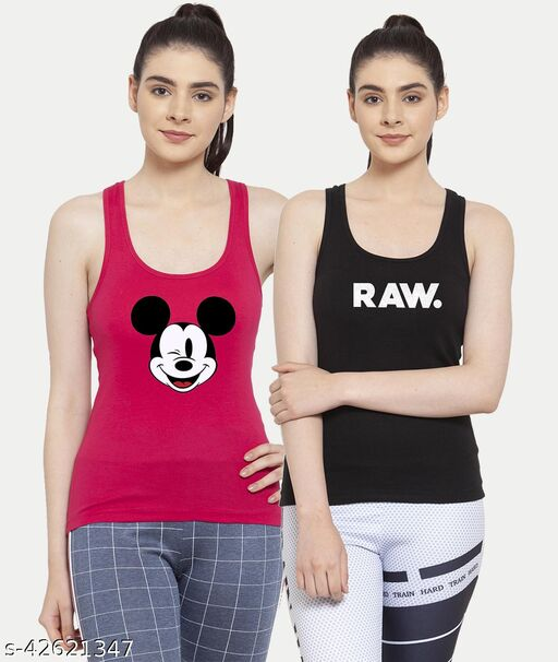 Women Pink Black Mickey mouse Raw Tank top