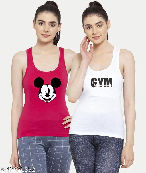 Women Pink White Mickey mouse Gym Tank top