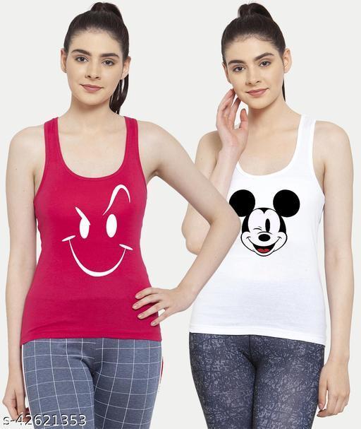 Women White Pink Mickey mouse Smily White Tank top