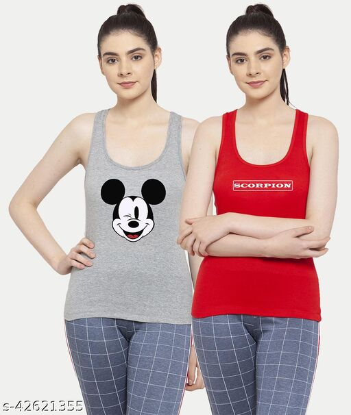 Women Grey Red Mickey mouse Scorpion Tank top