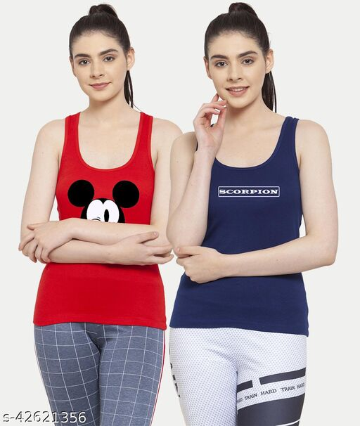 Women Red Blue Mickey mouse Scorpion Tank top