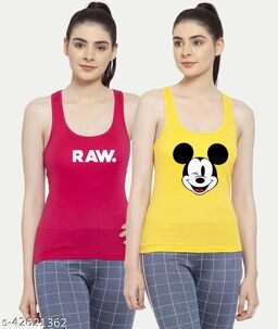 Women Yellow Pink Mickey mouse Raw Tank top