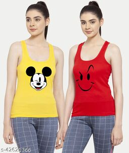 Women Yellow Red Mickey mouse Smily Tank top