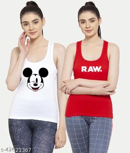 Women White Red Mickey mouse Raw Tank top