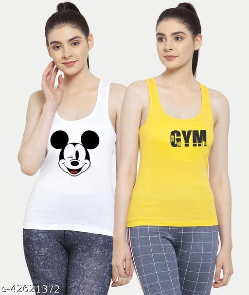 Women White Yellow Mickey mouse Gym Tank top