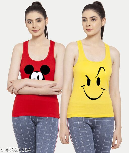 Women Red Yellow Mickey mouse Smily Tank top