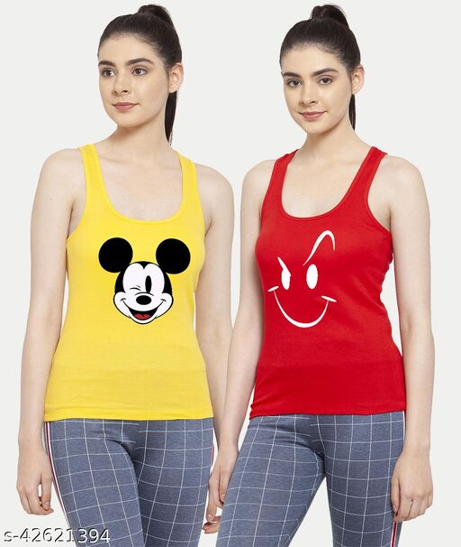 Women Yellow Red Mickey mouse Smily White Tank top