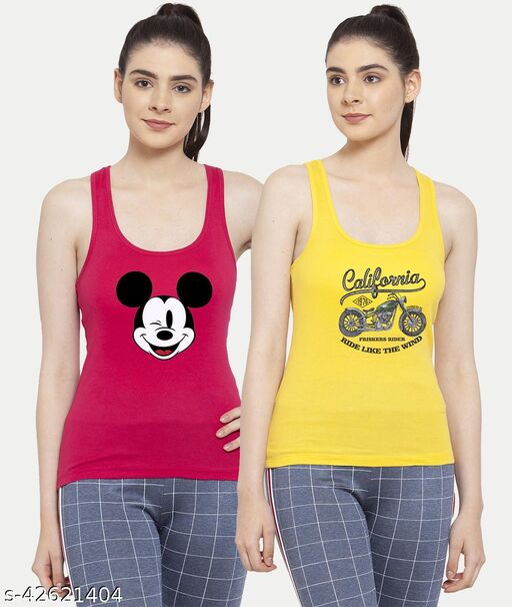 Women Pink Yellow Mickey mouse California Bike Rider Tank top