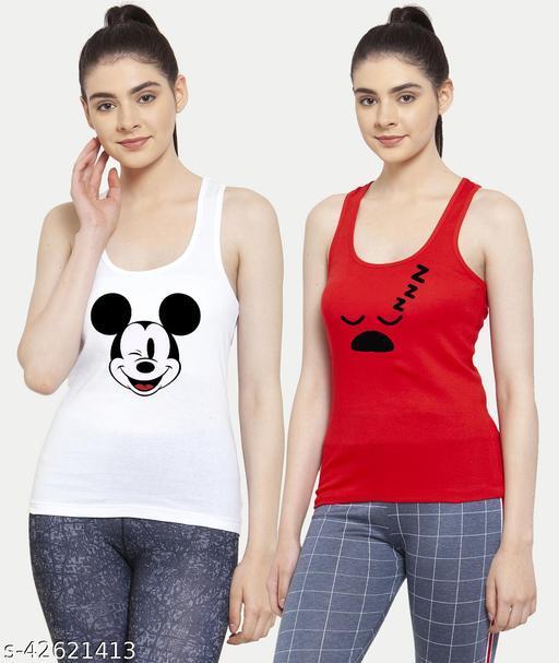 Women White Red Mickey mouse Sleepy Tank top