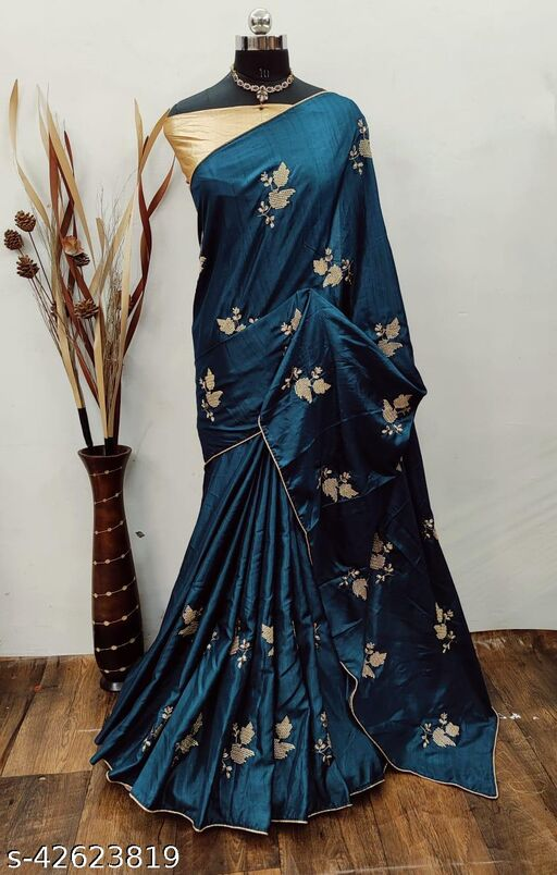 Amazing Embroidred Dola Silk Saree For Women With Blouse Piece