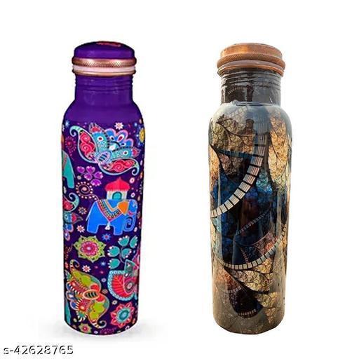 HealthChoice Handmade design pure Copper Bottle,pack of 2, 1000ml each
