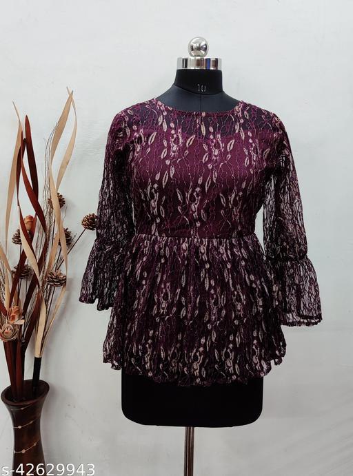 Janvi Western Stylish Net Wine Top For Women Wear