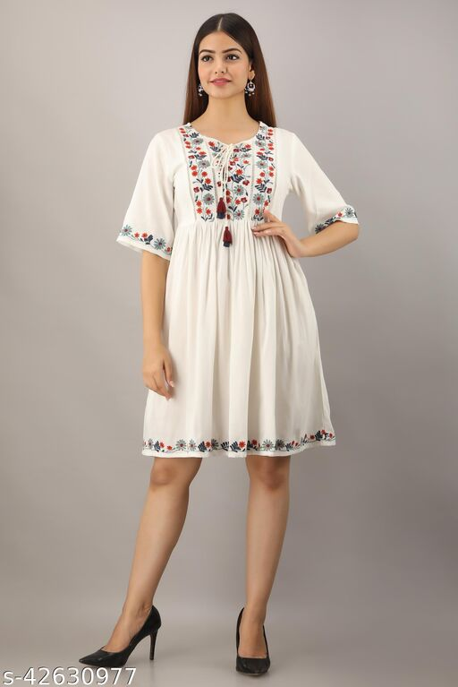 Women Fit and Flare White Dress