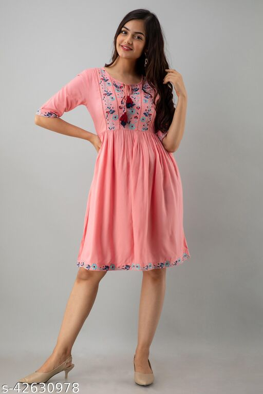 Women Fit and Flare Pink Dress