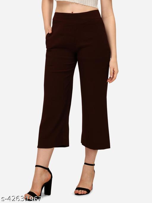 Fbella Women Wine Cropped Pants
