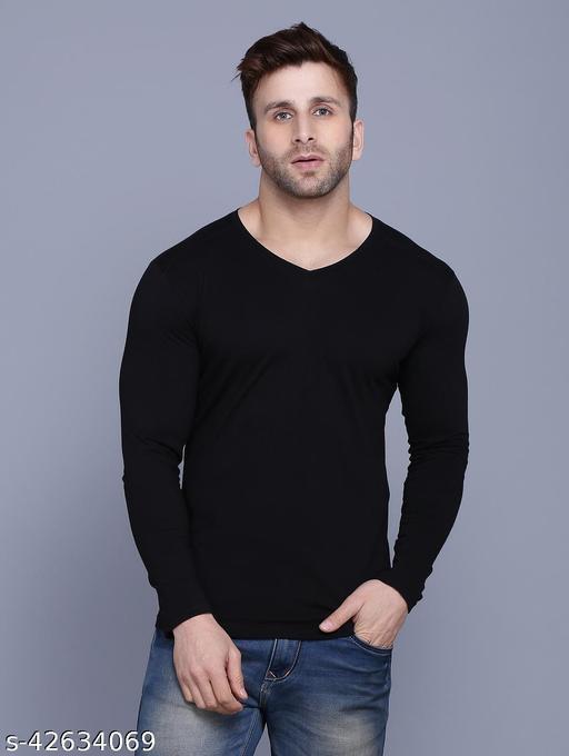 Men's Casual Solid Slim Fit V-Neck T-Shirt