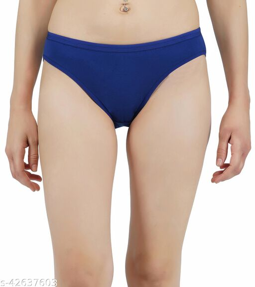 Women Hipster Blue Cotton Panty