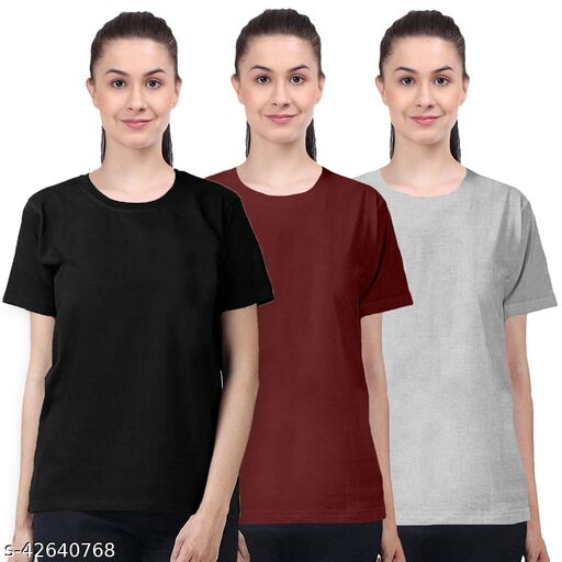 Plain 100% Cotton Combo Half Sleeves T-Shirts for Women