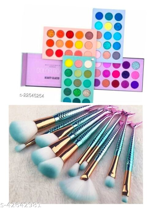 color board eyeshadow with fish brush set of 10