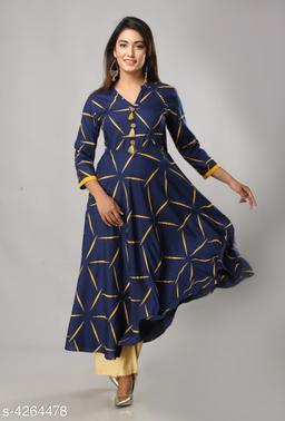 Women's Printed Rayon Anarkali Kurti