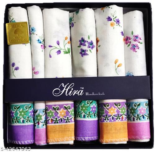 Hira Women's Cotton Floral Pattern Handkerchief (Multicolour, Large) Set OF 1 (28x28cm)