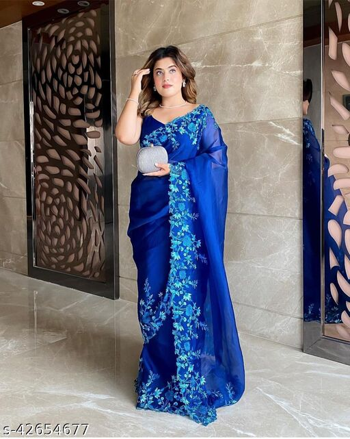VS Fab Embroiered Work With Orgenza Silk Saree