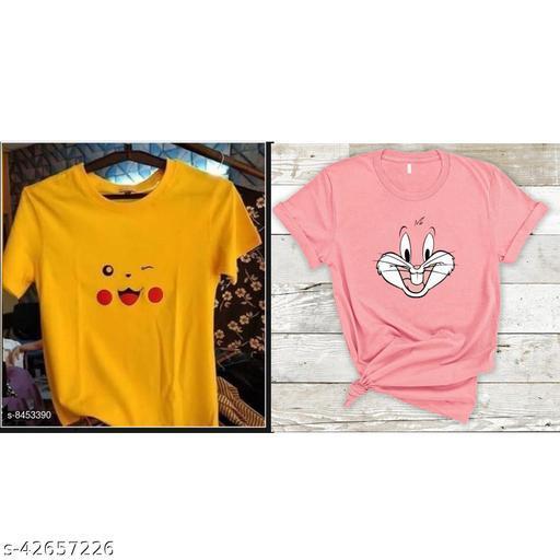 Trendy Women Cotton Tshirt(Pack of 2)