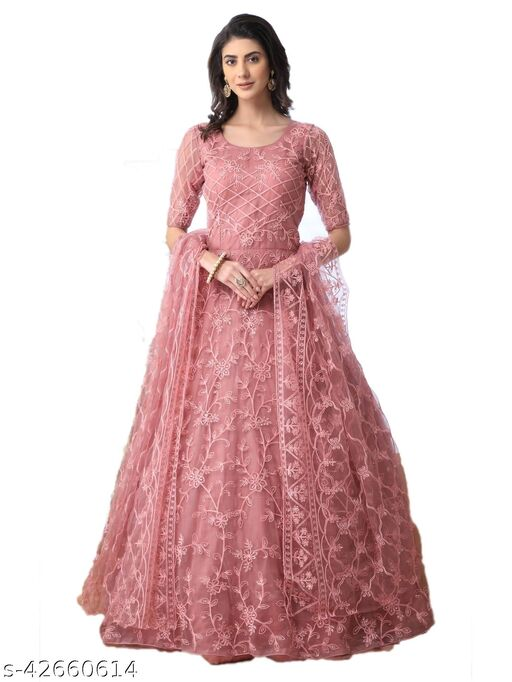 Embroidered Net Semi Stitched Anarkali Gown