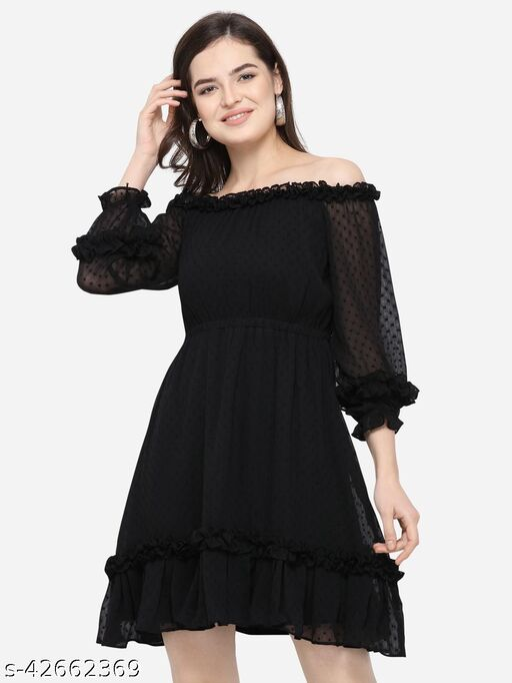 Fbella Women Black Self Design Fit and Flare Dress