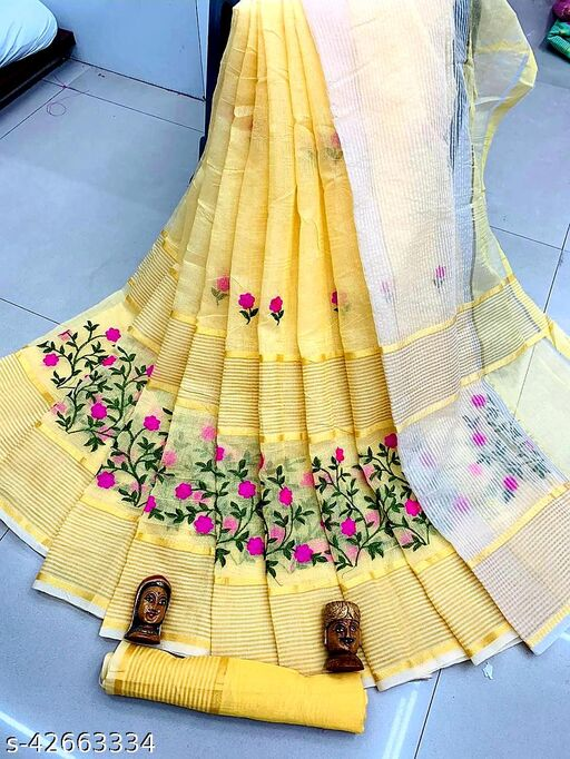 TOP SELLING FOR YOU LOWEST PRICE YELLOW COLOUR SAREE WITH BLOUSE