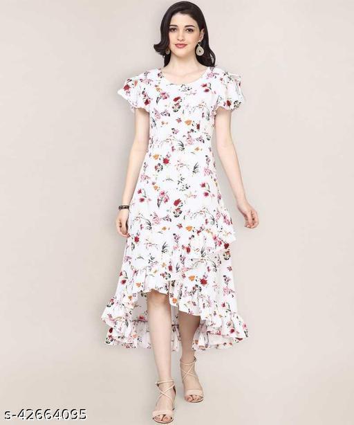 Fancy Women Ruffled White Dress