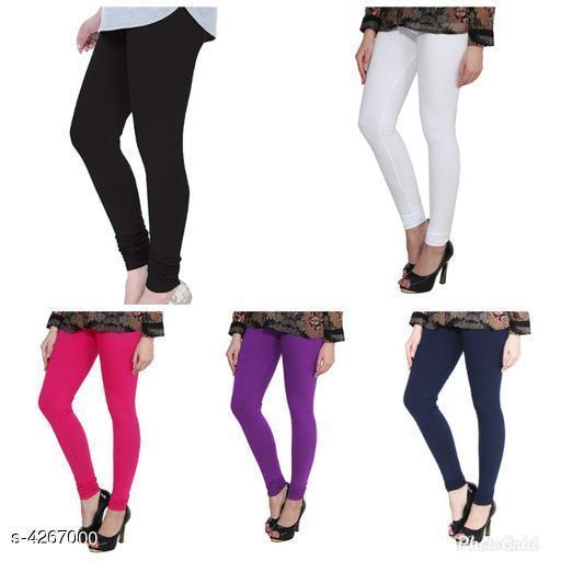 Stylish Cotton Lycra Women's Legging ( Pack Of 5 )