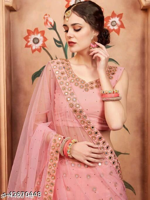 Meet  New Stylish Designer Lehenga Choli Peach  Mirror