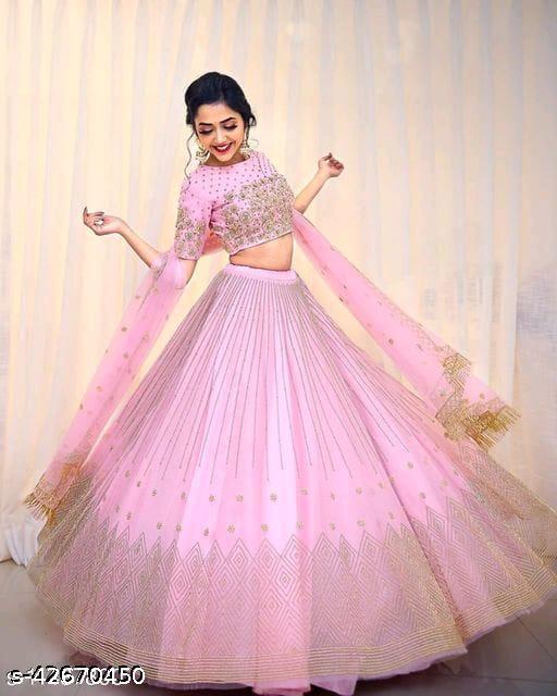Meet  New Stylish Designer Lehenga Choli Pink 004