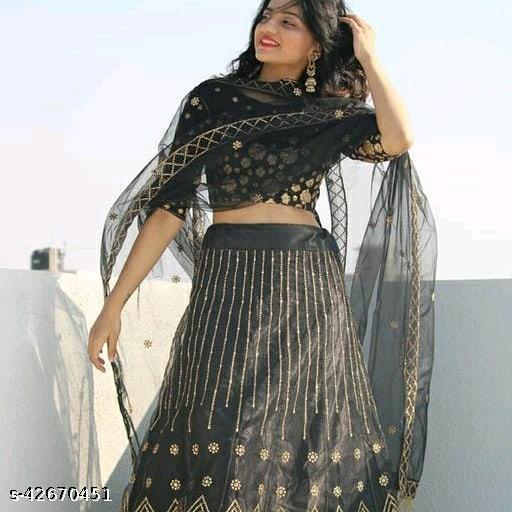 Meet  New Stylish Designer Lehenga Choli Black 004