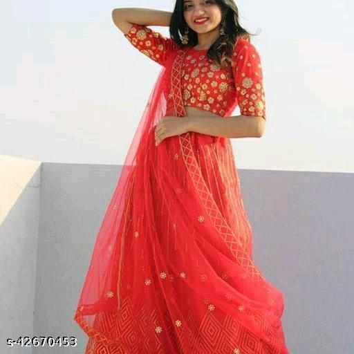 Meet  New Stylish Designer Lehenga Choli Red 004