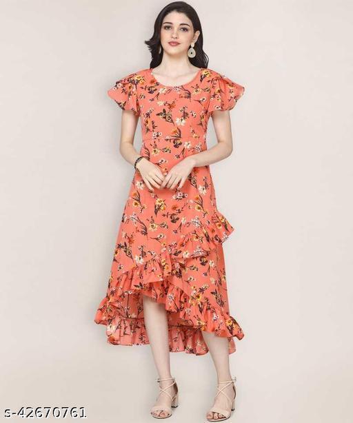 Fancy Women Ruffled Orange Dress