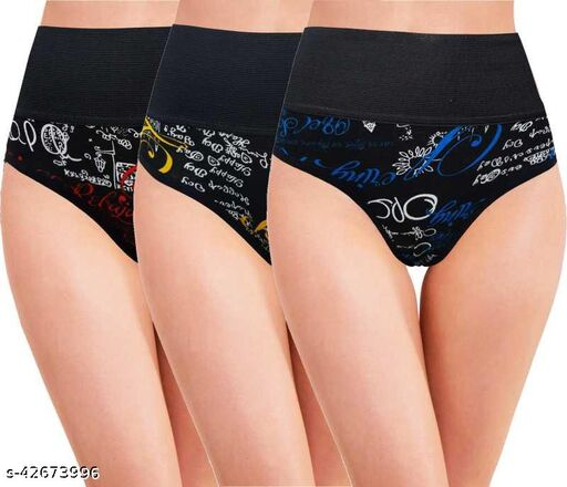 Women Hipster Black Cotton Panty (Pack of 3)